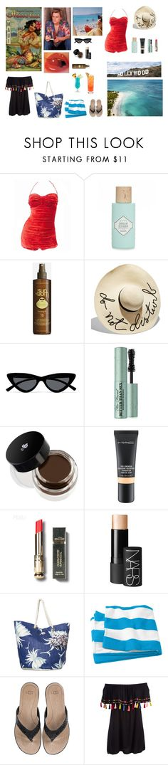 """Track 6: Hawaiian Tropic"" by circe-1emon ❤ liked on Polyvore featuring Cole of California, Benefit, Sun Bum, Eugenia Kim, Le Specs, Too Faced Cosmetics, Lancôme, MAC Cosmetics, NARS Cosmetics and Roxy"