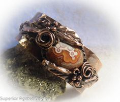 Antique Mexican Crazy Lace Agate Copper Rose Leaf Hammered Cuff Bracelet, $50, by Superior Agates on Etsy #cuff