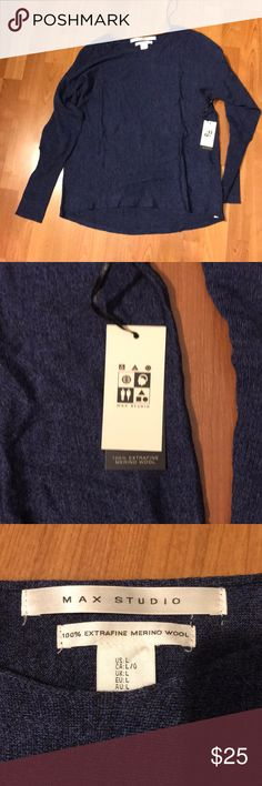 Max Studio blue Marino wool sweater size large Max Studio blue Marino wool sweater size large Max Studio Sweaters Crew & Scoop Necks