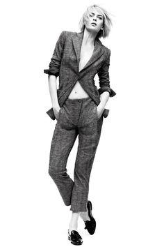 Menswear Inspired Fashion Shoot - Masculine Clothes for Women Fashion Editorial - Harper's BAZAAR