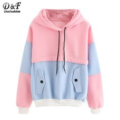 Buy Dotfashion Color Block Drawstring Hooded Tops Pink and Blue Pullovers Women Long Sleeve Patchwork Sweatshirt . Hoodie Sweatshirts, Pullover Hoodie, Blue Hoodie, Sweater Hoodie, Fleece Hoodie, Pastel Hoodie, Men With Street Style, Sports Hoodies, Pulls
