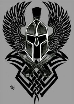 Spartan Helmet with wings and tribal design Gladiator Tattoo, Forearm Tattoos, Body Art Tattoos, Tribal Tattoos, Tatoos, Warrior Tattoos, Viking Tattoos, Tattoo Sleeve Designs, Sleeve Tattoos