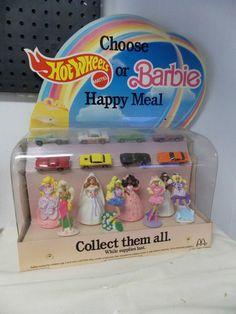 McDonald's Happy Meal Displayer Barbie & Hot Wheels Mattel 1991 Complete  #McDonalds