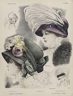 LÁMINAS VINTAGE,ANTIGUAS,RETRO Y POR EL ESTILO.... | Aprender manualidades es facilisimo.com Victorian Hats, Edwardian Era, 1900s Fashion, Vintage Fashion, Decoupage, Feather Hat, Vintage Ladies, Vintage Hats, Vintage Dress