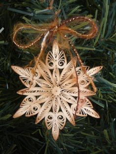 Paper Quilled Rustic Snowflake Ornament Gift Topper Christmas Decoration