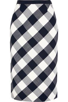 Oscar de la Renta|Gingham stretch wool-blend pencil skirt|NET-A-PORTER.COM