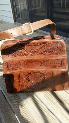 1970's Tooled Leather Bag Made in Mexico by CharmstruckVintage