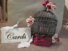 Card Cage. what do you think? :  wedding diy ivory pink purple reception silver white IMG 1097