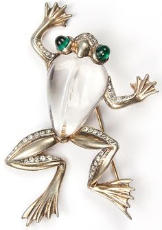 Trifari Sterling 'Alfred Philippe' Jelly Belly Frog Pin, 1943
