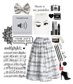 """""""- Music"""" by fangirl9 ❤ liked on Polyvore featuring Music Notes, Chicwish, River Island, Stila, Clarins and Dot & Bo"""