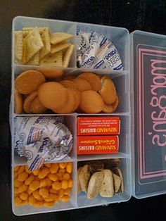 Travel Treat Boxes for Kids. Each kid gets a box with their favorite snacks but for the trip. They can eat it as fast or as slow as they want, but it never refills during the trip. Snack Box, Treat Box, Snack Pack, Tackle Box, Little Muffins, Boite A Lunch, For Elise, Travel Snacks, Vacation Snacks