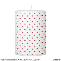 Small Christmas Red Polka Dot Hearts On Snow White Pillar Candle Christmas Candles, Christmas Holidays, Pillar Candles, Snow White, Candle Holders, Polka Dots, Hearts, Lights, Nice