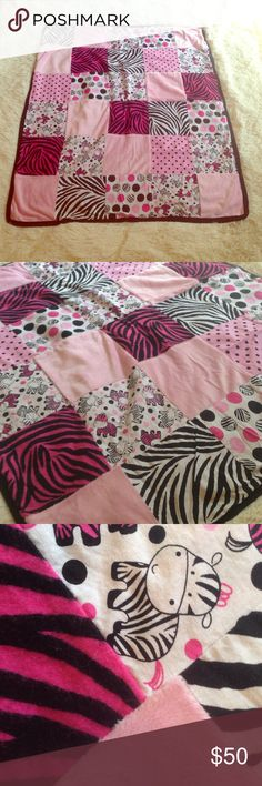 Girly zebra quilt Baby girl zebra print quilt. Approx 28 in x 34in. Never used, washed once. Other