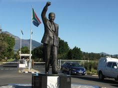 Statue of Nelson Mandela outside the prison (Victor Verster, Paarl) in honour of his release in Nelson Mandela, Live, Monuments, Diversity, Prison, Statues, South Africa, Beautiful Homes, The Outsiders