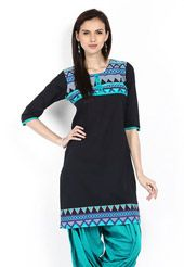 Come out with confidence in this smartly patterned black cotton readymade three quarter sleeve kurti designed with abstract, geometric print and patch border work. Bottom shown in the image is for photography purpose. (Slight color and print variation is possible.)