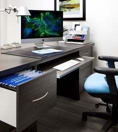 Behind the scenes, you'll find a pull out computer keyboard tray and file drawer. Both have full extension glides and soft close feature.