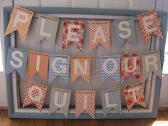 Guestbook Sign :  wedding banner blue diy orange quilt sign vintage Quilt Sign
