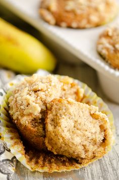 Banana Nut Streusel Muffins are a delicious dessert or breakfast with a moist cake crumb made from a sour cream banana bread recipe. They are topped with cinnamon, sugar and walnuts for a sweet finish. #BananaNutMuffins #BananaBread #BreakfastSweet