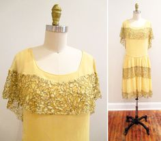 Vintage 1920s Dress  Buttercup Yellow Silk Chiffon and by MinxVTG