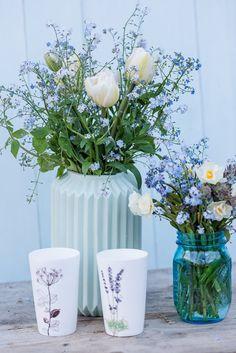 Upcycling Friday Flowerday, Vergissmeinnicht mit Tulpen, Frühlingsstrauß