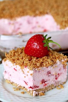Easy Frozen Strawberry Dessert a perfect spring and summer dessert for all strawberry fans. This refreshing, creamy, frozen dessert made with fresh strawberries and a crunchy graham cracker layer, topped with graham cracker crumbs is very quick and easy to prepare.