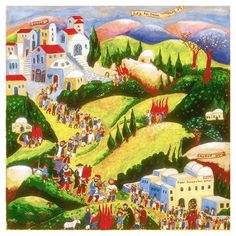 Michal Meron Painting with Lag Ba'Omer Celebration, Safed and Mt. Meron