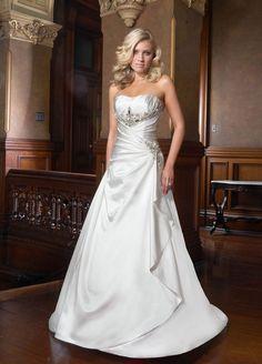 Modern A-line sleeveless satin wedding dress