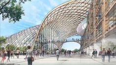 Full model / 全体模型Swatch Headquarter and Swatch-Omega Museum / オメガ本社とスウォッチ・オメガ・ミュージアムA flowing timber grid-shell roof that unites two structures / 巨大な木造のグリッドシェル屋根がミュージアムの上に覆いかぶさっている