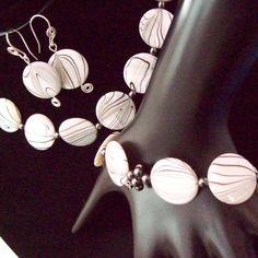 Shell Necklace Earrings Bracelet Jewelry Set Circles