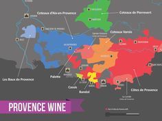 Provence wine region is located in the South of France close to Marseille and Cannes. Discover the secrets of this underrated wine region famous for rosé. Map France, Provence France, Art Du Vin, French Wine Regions, Wine Facts, Wine Folly, Wine Education, Wine Guide, In Vino Veritas