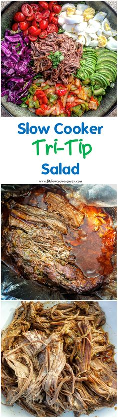 Tri-tip in the slow cooker will result in melt-in-your-mouth, falling-off-the bone meat. The tri-tip from this recipe can be used is so many different ways. Like in a salad.