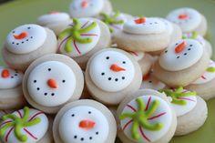 Mini Vanilla Snowman & Christmas Candy Sugar Cookies via Etsy.