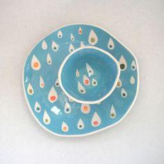 Dessert bord Turquoise regendruppels van CeramicaBotanica op Etsy