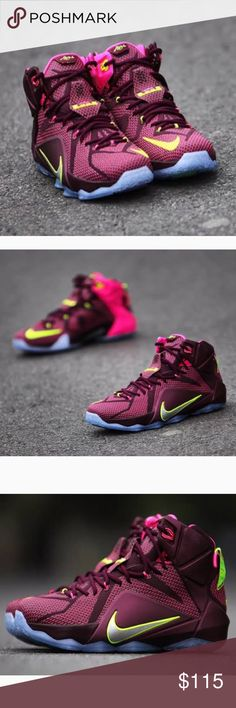 Nike Lebron 12 XII Double Helix Basketball Shoes Brand: Nike  Style #: 684593-607  Color : Burgundy/Volt-Pink Flash  Size : Mens 11.5  This Nike LeBron 12 is dressed in a mixture of Burgundy, Pink and Volt color scheme. The shoe features a Burgundy mesh, Pink Hyperposite base with Volt accents on the Nike and LeBron branding as well as hitting the lace tips. The shoe is finished with Pink interior and a translucent outsole  100% AUTHENTIC  BRAND NEW.  NO BOX.  NEVER WORN. Nike Shoes Athletic…