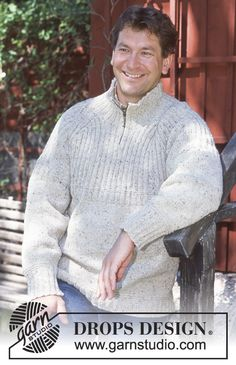 DROPS Pullover in Angora-Tweed (with or without zipper). Ribbed scarf in Vienna ~ DROPS Design Baby Knitting Patterns, Free Knitting, Drops Design, Mens Knit Sweater Pattern, Men Sweater, Pull Camionneur, Raglan Pullover, Tweed, Magazine Drops