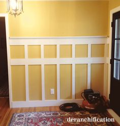 Board & Batten how-to  (great style for dining room... middle row would be at the height of the chairs to protect the wall from dents, the top would be a shelf for pictures)