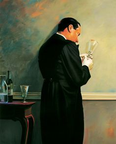 """The Butler's In Love-Absinthe, by Mark Stock. 1989, oil on canvas. 75""""x64"""""""