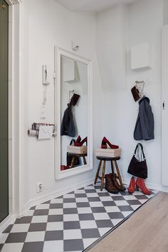 Cool and practical hallway. Love the chess patterned tiles! From a Scandinavian style Gothenburg apartment. House 2, Tile Patterns, Scandinavian Style, Decoration, Shoe Rack, Sweet Home, Photos, Room Decor, Kids Rugs