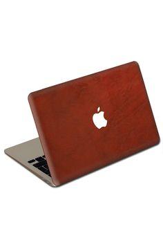 Macbook Air Crimson Leather Cover.