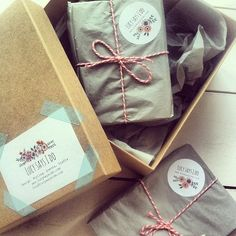 pretty packaging for custom invitations from Lucy Says I Do #washi tape #bakers twine