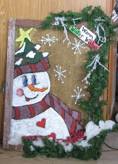 old window screen-hand painted--winter fun Christmas Makes, All Things Christmas, Winter Christmas, Christmas Ideas, Xmas, Old Window Screens, Window Art, Window Ideas, Primitive Christmas