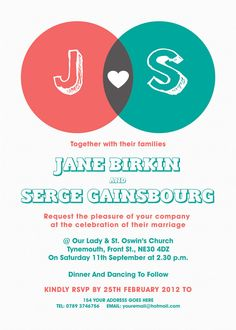 Venn Diagram Themed Modern Wedding Invitation.