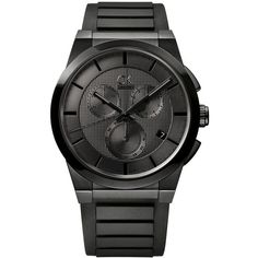 Calvin Klein Dark Matte Black Chronograph Watch (€450) ❤ liked on Polyvore featuring jewelry, watches, bracelets, black, calvin klein, matte watches, calvin klein watches, stainless steel chronograph watch and stainless steel jewellery