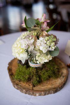 Flower Moxie DIY Centerpiece  White hydrangea, silver dollar eucyaptus, astromeria