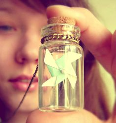 Vintage Retro Tiny Mint Origami Pinwheel In The Bottle Long Necklace - Free Shipping - Made to order :)