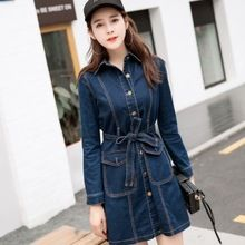2016 Mulheres de Outono Azul Caixilhos Casual Vestidos Street Style Reta Gola…