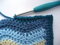 """Neat ripple stitch ~ how to """"fill in"""" a wavy edge to make it straight for a square blanket 