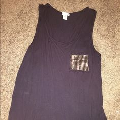 Bozzolo tank top Black tank with gold sequin pocket Tops Tank Tops