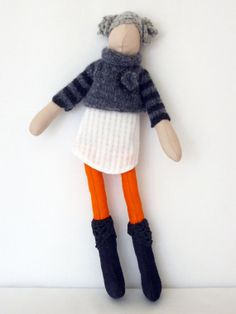 SO CUTE! Handmade fabric doll, knitted corsage jumper and lace trimmed boots