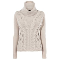 Karen Millen Chunky Cable Knit Jumper, Neutral (930 SEK) ❤ liked on Polyvore featuring tops, sweaters, pink sweater, chunky sweater, over sized sweaters, roll neck sweater and pink jumper
